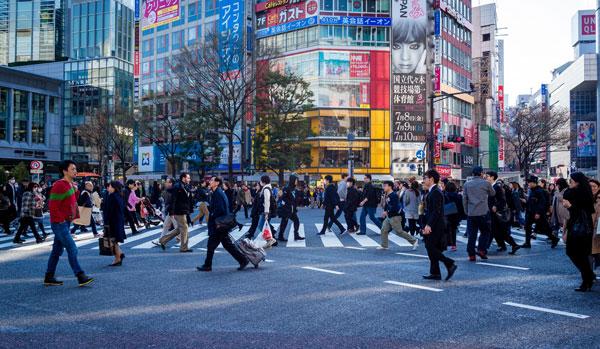 Busy street in Tokyo.