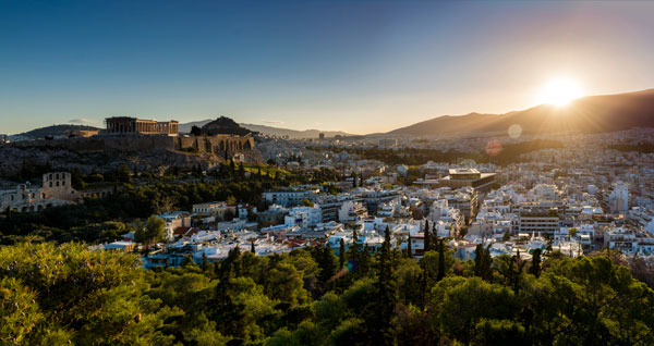 View from the top of Philopappos Hill in Athens.