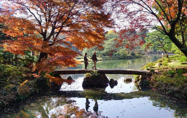A stone bridge at Rikugien Park in Tokyo.