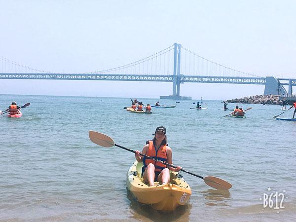 ISA student kayaking in Busan, South Korea.