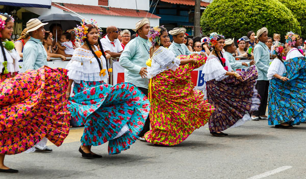 Traditional dancers at an Independence Day parade in Costa Rica.
