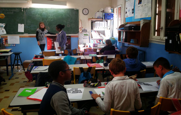 Teaching in a French classroom.