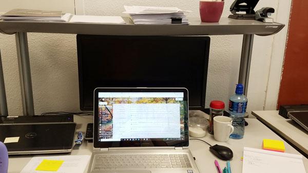 ISA student's desk at her internship in Dublin.