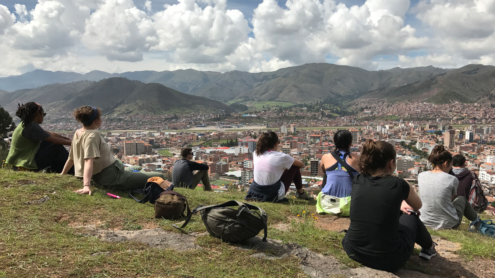 ISA students on a hill in Cusco, Peru.