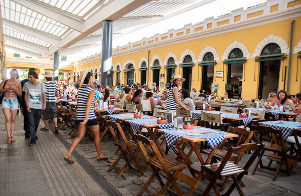 An outdoor restaurant in Florianopolis, Brazil