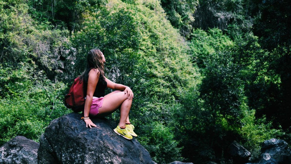 An ISA student hiking in the Gold Coast.