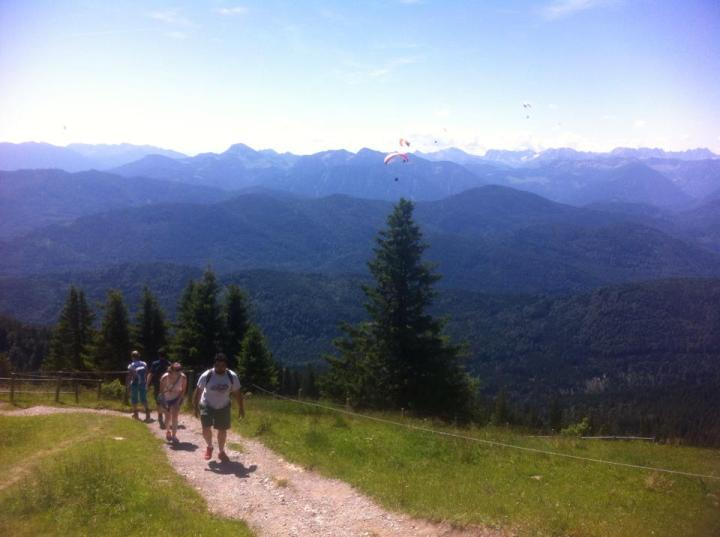 Rocky hiking trail in the German Alps